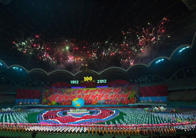 Panoramic view of the Arirang mass games with North Korean performers in may day stadium, Pyongan Province, Pyongyang, North Korea.NO USE FRANCE