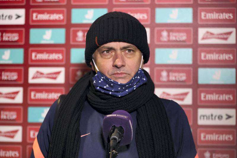 Tottenham Hotspur's Portuguese head coach Jose Mourinho gives a post-match interview after the English FA Cup third round football match between Marine and Tottenham Hotspur at Rossett Park ground in Crosby, north west England, on January 10, 2021. - Tottenham won the game 5-0. (Photo by Clive Brunskill / POOL / AFP) / RESTRICTED TO EDITORIAL USE. No use with unauthorized audio, video, data, fixture lists, club/league logos or 'live' services. Online in-match use limited to 120 images. An additional 40 images may be used in extra time. No video emulation. Social media in-match use limited to 120 images. An additional 40 images may be used in extra time. No use in betting publications, games or single club/league/player publications. /