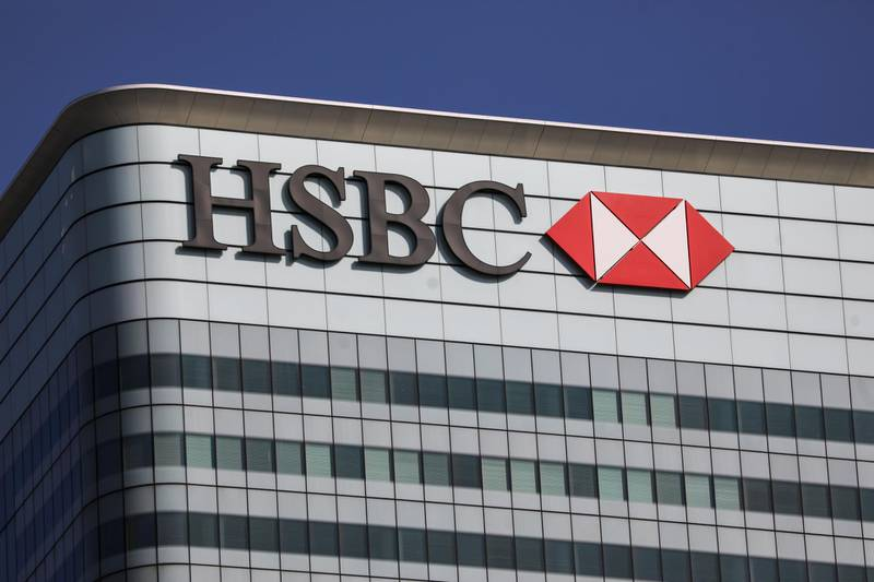 A sign sits on the HSBC Holdings Plc headquarters office building in the Canary Wharf business, financial and shopping district of London, U.K., on Friday, Sept. 18, 2020. After a pause during lockdown, lenders from Citigroup Inc. to HSBC Holdings Plc have restarted cuts, taking gross losses announced this year to a combined 63,785 jobs, according to a Bloomberg analysis of filings. Photographer: Simon Dawson/Bloomberg
