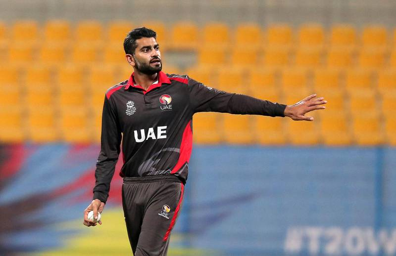 ABU DHABI , UNITED ARAB EMIRATES , October 19  – 2019 :- Ahmed Raza of UAE during the World Cup T20 Qualifiers between UAE v Ireland held at Zayed Cricket Stadium in Abu Dhabi.  ( Pawan Singh / The National )  For Sports. Story by Amith