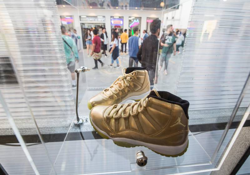 Dubai, United Arab Emirates-  A shoe brand on display at the Sole Dubai Festival at D3.  Leslie Pableo for The National for Saeed Saeed's story