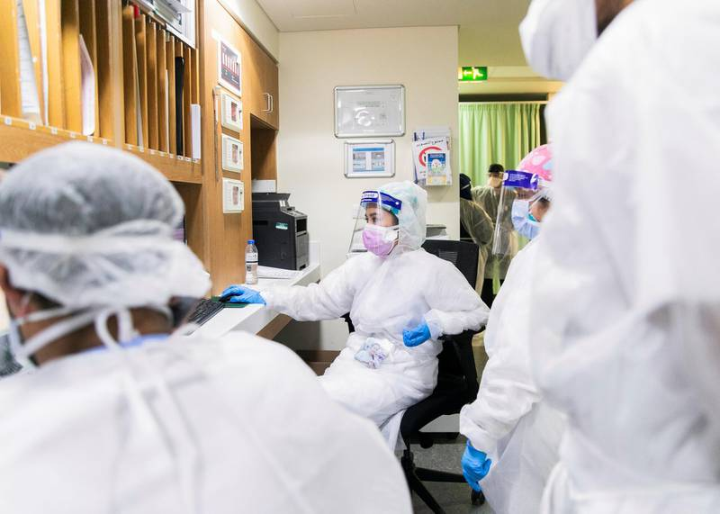 ABU DHABI, UNITED ARAB EMIRATES. MAY 2020.Heathcare workers at the emergency ward in Sheikh Khalifa Medical City.  (Photo: Reem Mohammed/The National)Reporter:Section: