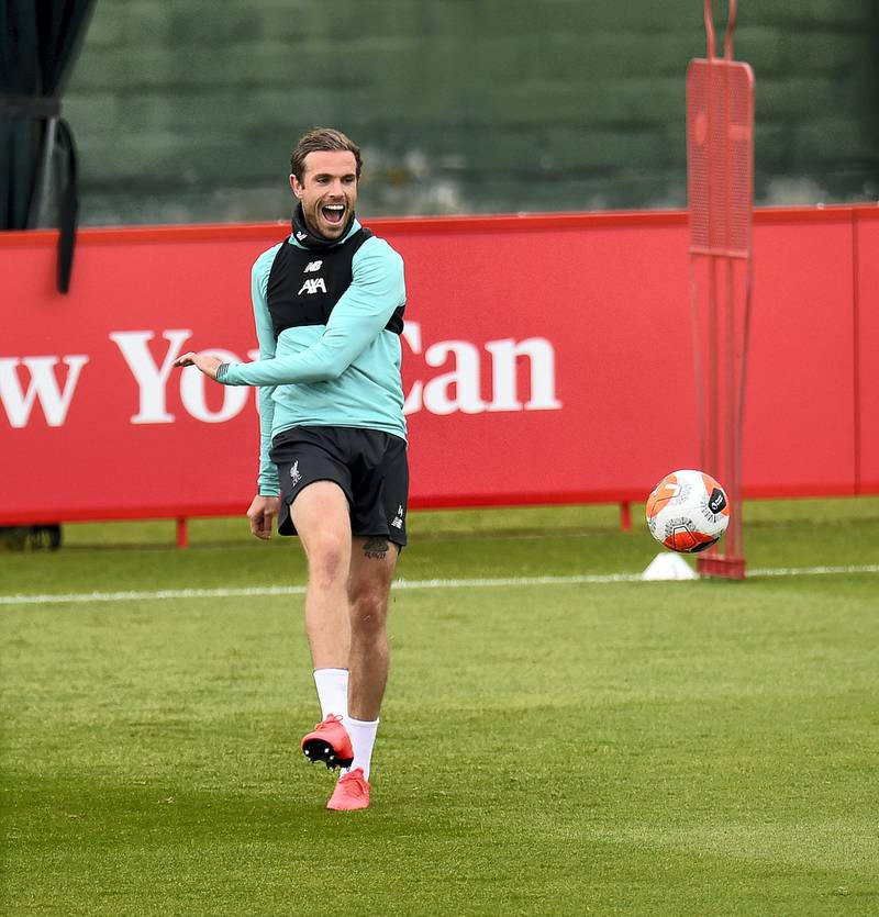 LIVERPOOL, ENGLAND - MAY 24: (THE SUN OUT, THE SUN ON SUNDAY OUT) Jordan Henderson captain of Liverpool during a training session at Melwood Training Ground on May 24, 2020 in Liverpool, England. (Photo by Andrew Powell/Liverpool FC via Getty Images)