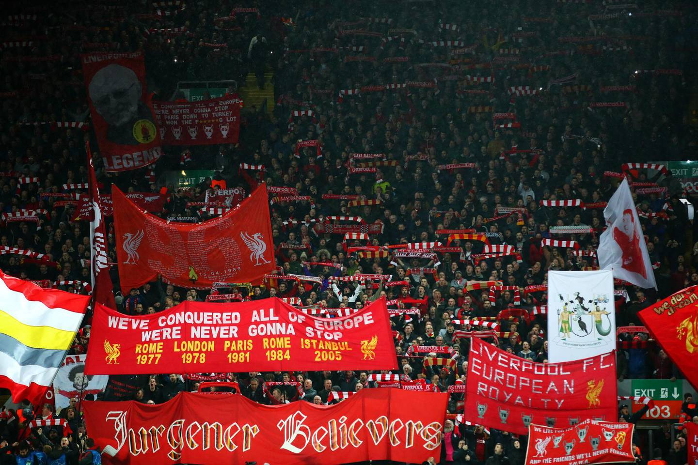 LIVERPOOL, ENGLAND - FEBRUARY 19:  Liverpool fans show their support prior to the UEFA Champions League Round of 16 First Leg match between Liverpool and FC Bayern Muenchen at Anfield on February 19, 2019 in Liverpool, England. (Photo by Clive Brunskill/Getty Images)