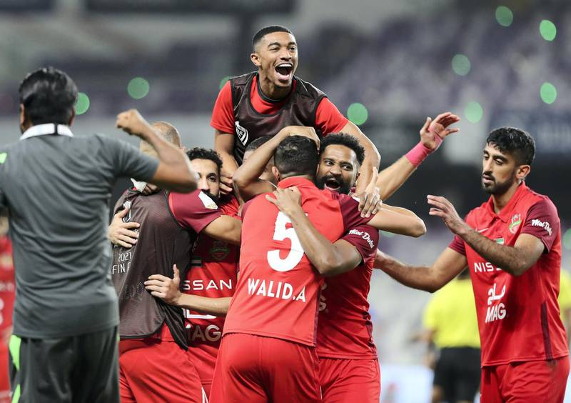 Shabab Al Ahli celebrate winning the game between Shabab Al Ahli and Al Nasr in the PresidentÕs Cup final in Al Ain on May 16th, 2021. Chris Whiteoak / The National.  Reporter: John McAuley for Sport