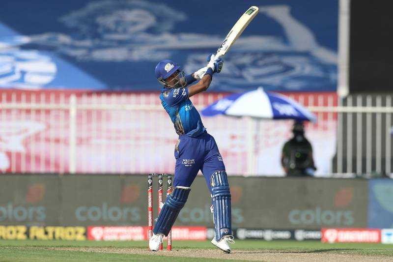 Hardik Pandya of Mumbai Indians bats during match 17 of season 13 of the Dream 11 Indian Premier League (IPL) between the Mumbai Indians and the Sunrisers Hyderabad held at the Sharjah Cricket Stadium, Sharjah in the United Arab Emirates on the 4th October 2020. Photo by: Deepak Malik  / Sportzpics for BCCI