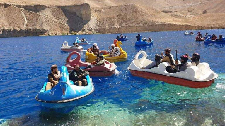 An image that illustrates this article Taliban take boat rides in Afghanistan's Band-e-Amir national park
