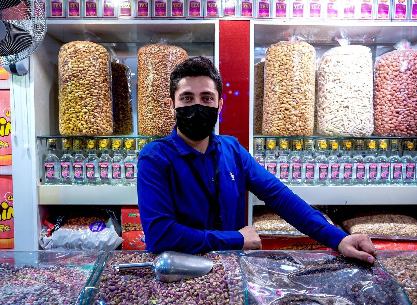 Abu Dhabi, United Arab Emirates, January 10, 2021.  Kalim, a nuts vendor at the Afghanistan market at Sheikh Zayed Festival.Victor Besa/The NationalSection:  NAReporter:  Saeed Saeed