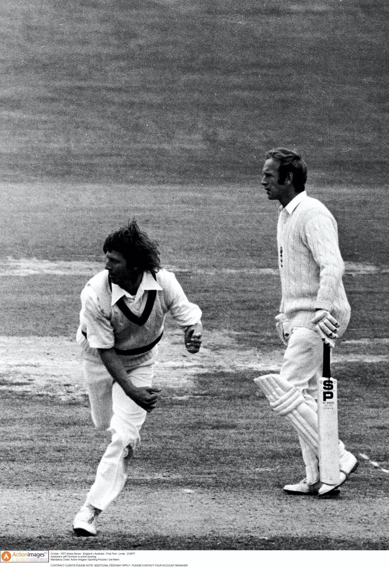 Cricket - 1977 Ashes Series - England v Australia - First Test - Lord's  - 21/6/77  Australia's Jeff Thomson in action bowling  Mandatory Credit: Action Images / Sporting Pictures / Joe Mann  CONTRACT CLIENTS PLEASE NOTE: ADDITIONAL FEES MAY APPLY - PLEASE CONTACT YOUR ACCOUNT MANAGER