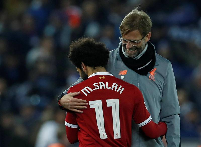 Soccer Football - Champions League Round of 16 Second Leg - Liverpool vs FC Porto - Anfield, Liverpool, Britain - March 6, 2018   Liverpool's Mohamed Salah and Liverpool manager Juergen Klopp after the match           Action Images via Reuters/Lee Smith