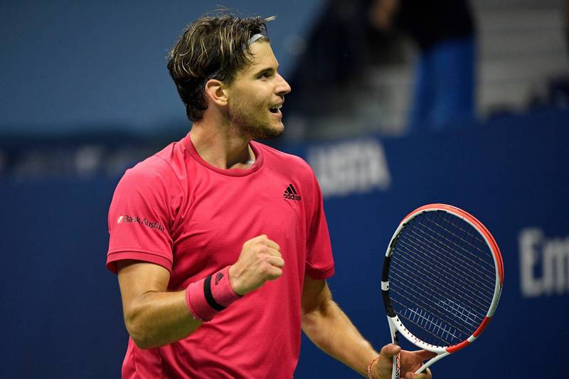 Sep 11 2020; Flushing Meadows, New York,USA; Dominic Thiem of Austria celebrates after match point against Daniil Medvedev of Russia (not pictured) in a men's singles semi-finals match on day twelve of the 2020 U.S. Open tennis tournament at USTA Billie Jean King National Tennis Center. Mandatory Credit: Robert Deutsch-USA TODAY Sports