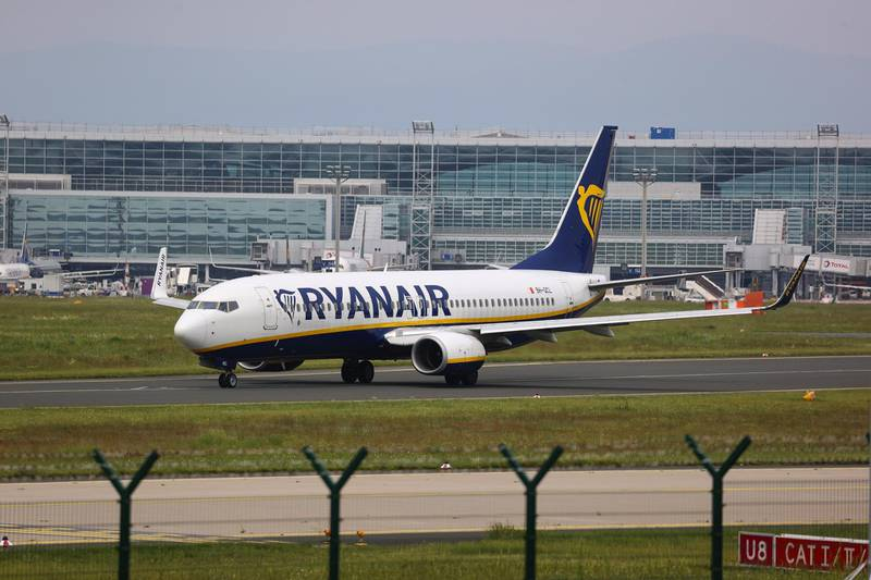 A Boeing Co. 737-8AS passenger aircraft, operated by Ryanair Holdings Plc, taxis at Frankfurt Airport in Frankfurt, Germany, on Tuesday, June 8, 2021. Ryanair will tomorrow appeal the European Commission's decision in April 2020 to approve Covid-19-related aid in the form of a 550 million-euro German State-guaranteed loan to charter airline Condor. Photographer: Alex Kraus/Bloomberg