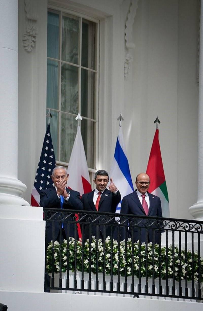 Israeli Prime Minister Benjamin Netanyahu, UAE Foreign Minister Abdullah bin Zayed and Bahrain Foreign Minister Abdullatif al-Zayani. Courtesy MOFAIC