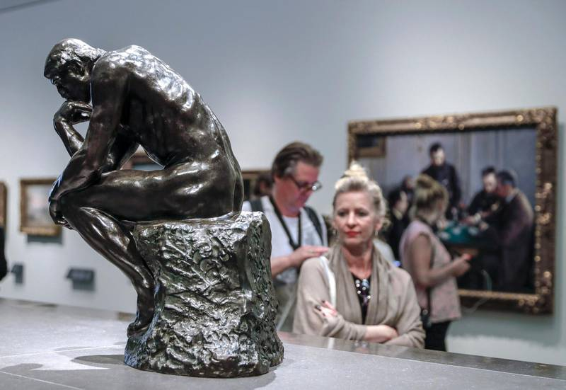 Abu Dhabi, United Arab Emirates, March 12, 2020.  Stock Images;  The Louvre Abu Dhabi.  Shot November 19, 2019.  The Thinker by Auguste Rodin, 1881-1882.Victor Besa / The NationalSection:  NA standaloneReporter: