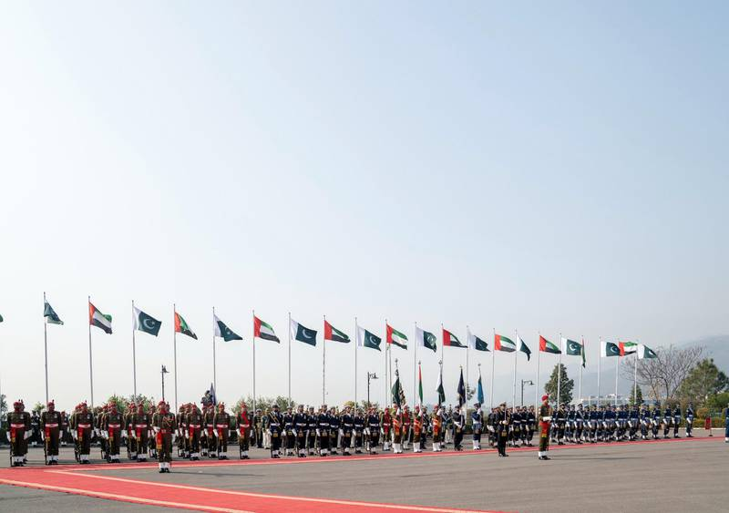 ISLAMABAD, PAKISTAN - January 06, 2019: Honour Guards during a reception at the Prime Minister's residence.  (  Mohammed Al Hammadi / Ministry of Presidential Affairs ) ---