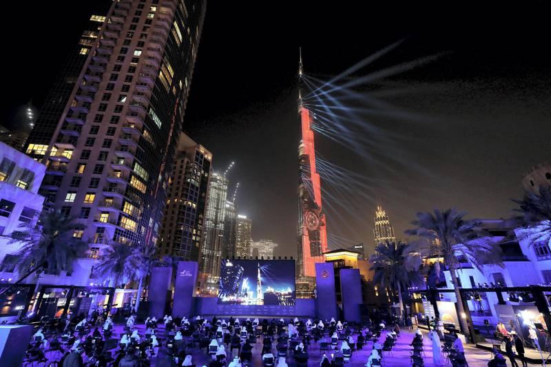 Dubai, United Arab Emirates - Reporter: Sarwat Nasir. News. Mars Mission. The Burj Khalifa lights up at an event at Burj Park to celebrate the Hope probe going into orbit around Mars. Tuesday, February 9th, 2021. Dubai. Chris Whiteoak / The National