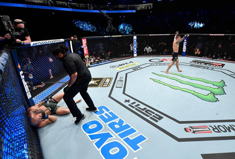 ABU DHABI, UNITED ARAB EMIRATES - JANUARY 23: Dustin Poirier reacts after his knockout victory over Conor McGregor of Ireland in a lightweight fight during the UFC 257 event inside Etihad Arena on UFC Fight Island on January 23, 2021 in Abu Dhabi, United Arab Emirates. (Photo by Jeff Bottari/Zuffa LLC)