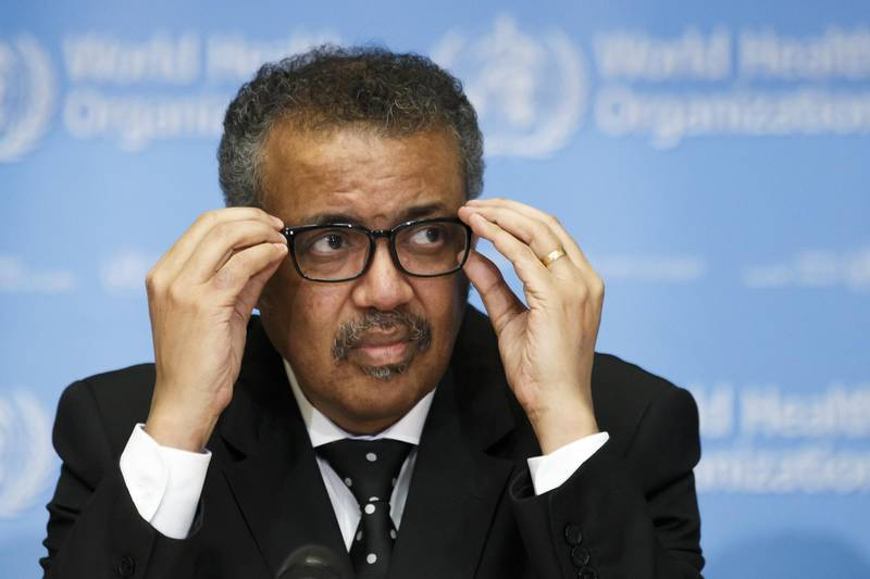epa08286538 (FILE) - Tedros Adhanom Ghebreyesus, Director General of the World Health Organization (WHO), informs the media about the update on the situation regarding the novel coronavirus (2019-nCoV), during a new press conference, at the World Health Organization (WHO) headquarters in Geneva, Switzerland, 10 February 2020 (reissued 11 March 2020). Reports on 11 March 2020 state Tedros Adhanom Ghebreyesus has said the novel coronavirus COVID-19 outbreak 'can be characterised as a pandemic'.  EPA/SALVATORE DI NOLFI