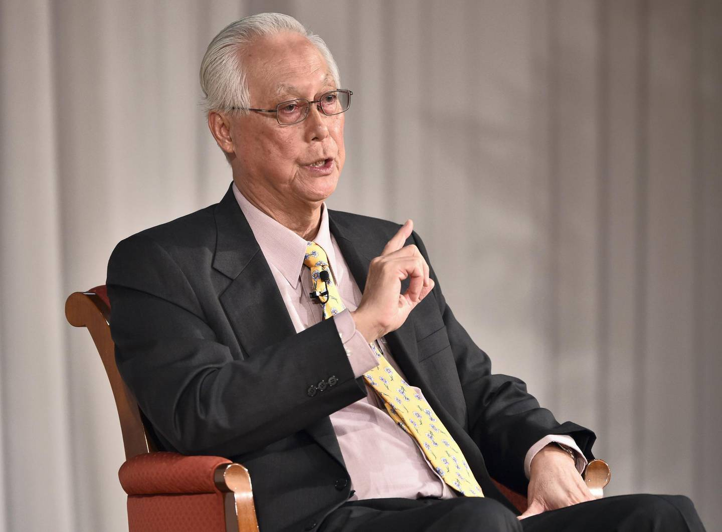 """Singapore's Emeritus Senior Minister and former prime minister Goh Chok Tong answers questions after his keynote speech at the 21st International  Conference of The Future of Asia at a hotel in Tokyo on May 21, 2015. The conference entitled """"Asia Beyond 2015: The Quest for Lasting Peace and Prosperity"""" is held until May 22.   AFP PHOTO / KAZUHIRO NOGI (Photo by KAZUHIRO NOGI / AFP)"""