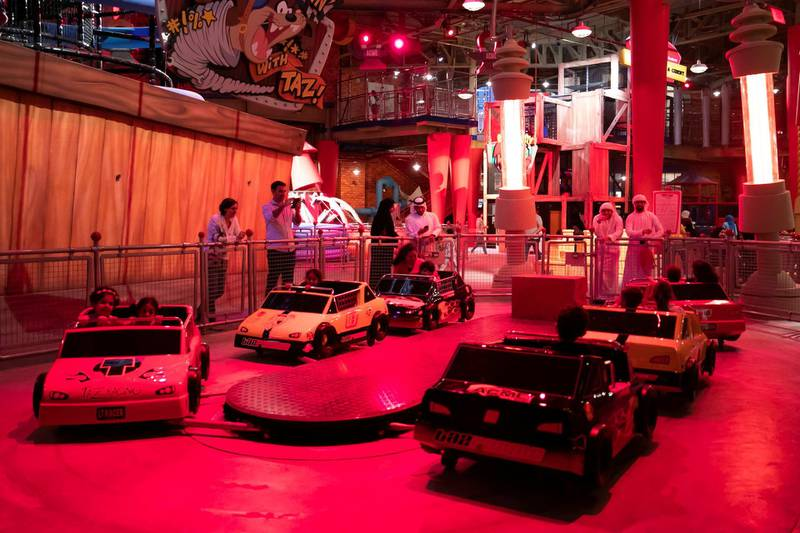 ABU DHABI, UNITED ARAB EMIRATES - JULY 24, 2018. Ricochet Racin' with Taz ride at Cartoon Junction in Warner Bros World Abu Dhabi.Almost 15,000 tickets for Warner Bros World Abu Dhabi have been sold ahead of opening to the public on Wednesday.(Photo by Reem Mohammed/The National)Reporter: Section: NA + AL
