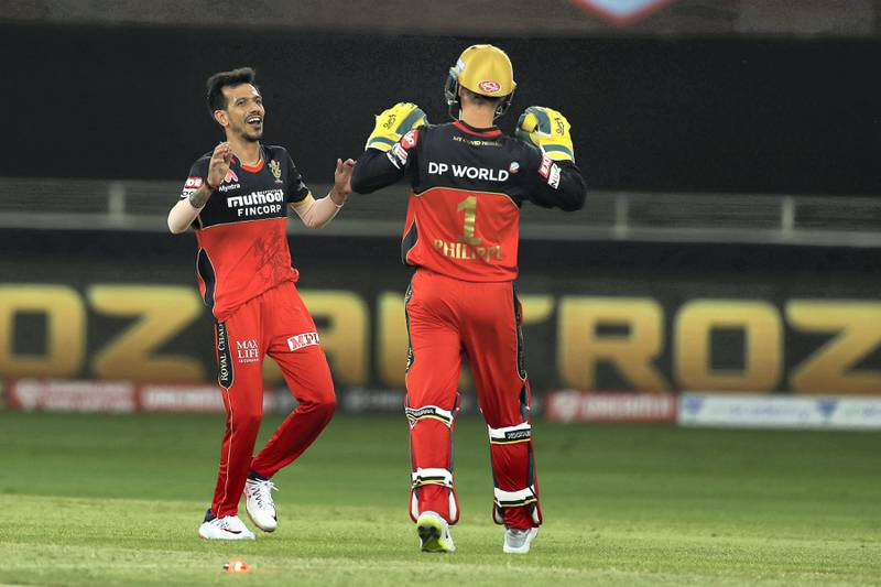 Yuzvendra Chahal of Royal Challengers Bangalore celebrates the wicket of Mayank Agarwal of Kings XI Punjab during match 6 of season 13 of the Dream 11 Indian Premier League (IPL) between Kings XI Punjab and Royal Challengers Bangalore held at the Dubai International Cricket Stadium, Dubai in the United Arab Emirates on the 24th September 2020.  Photo by: Ron Gaunt  / Sportzpics for BCCI