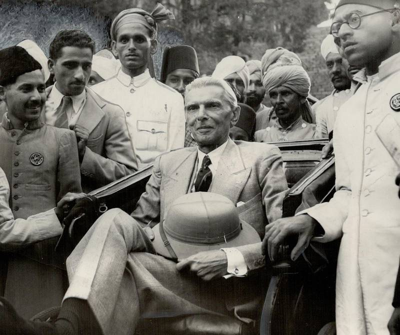 CANADA - JULY 29:  Before today's rejection of British plans for an Indian government by the powerful Moslem league; M. A. Jinnah; its president; seen here in a rickshaw surrounded by supporters; attacked the good faith of British negotiators. The British must go; he shouted.   (Photo by Toronto Star Archives/Toronto Star via Getty Images)