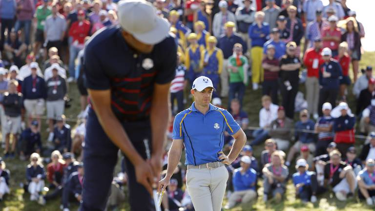 An image that illustrates this article Rory McIlroy reduced to a spectator as Europe struggle in Ryder Cup