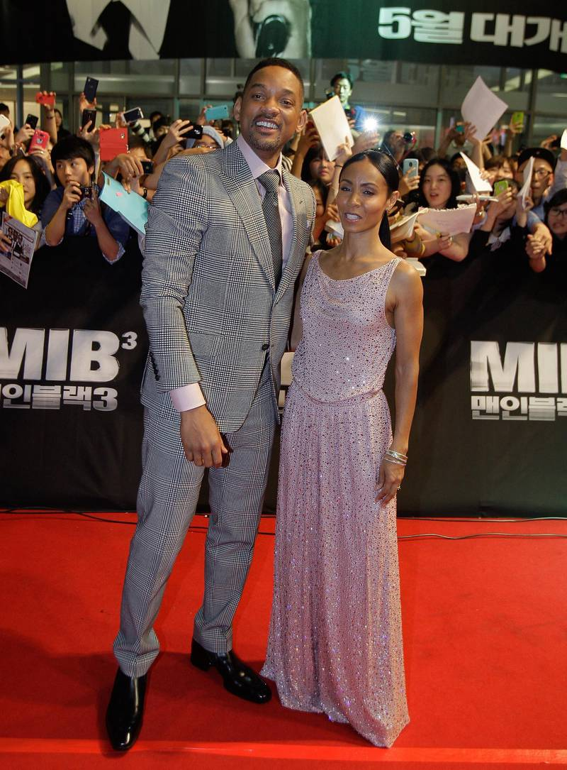 SEOUL, SOUTH KOREA - MAY 07:  (L to R) Actor Will Smith and his wife Jada Pinkett Smith attend the 'Men In Balck 3' Seoul premiere at Times Square on May 7, 2012 in Seoul, South Korea. The film will open on May 24 in South Korea.  (Photo by Chung Sung-Jun/Getty Images)