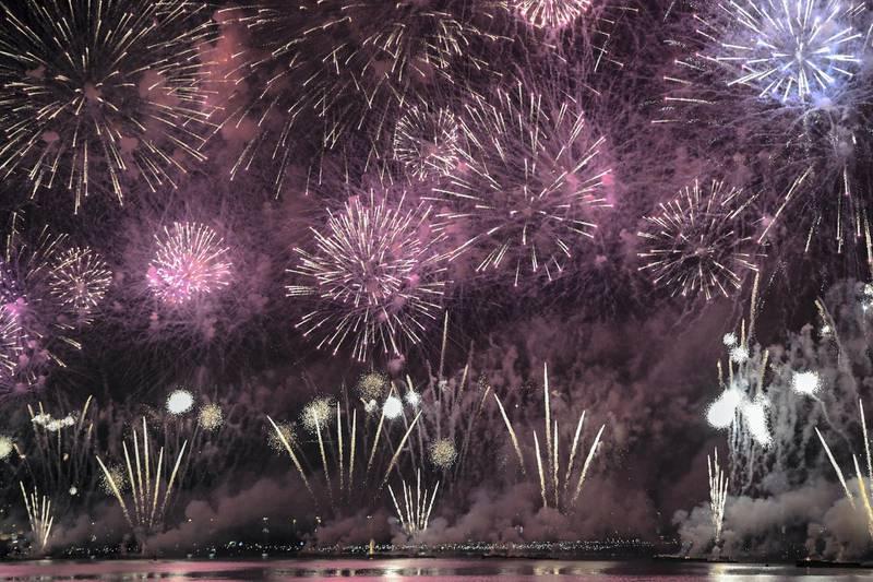 Abu Dhabi, United Arab Emirates - Mega colourful fireworks display to commemorate UAE��s 47th National Day at the Corniche on December 2, 2018. (Khushnum Bhandari/ The National)