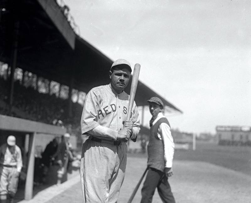 Baseball player Babe Ruth on the field in his Boston Red Sox uniform in 1919 in New York, New York. (Photo courtesy Library of Congress/Getty Images)