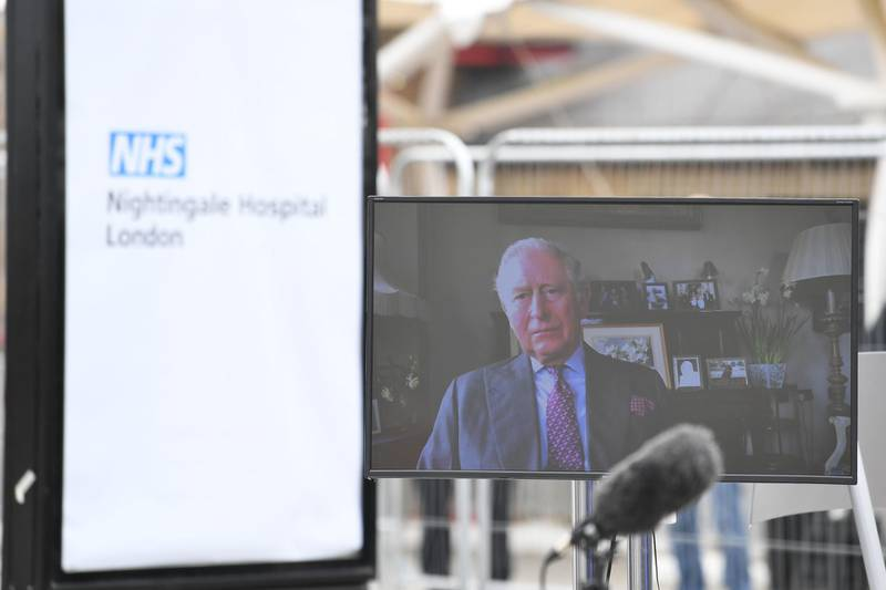 LONDON, ENGLAND - APRIL 03: A video message from the Prince of Wales, known as the Duke of Rothesay while in Scotland, is seen as he sends a video message to guests at the opening of the NHS Nightingale Hospital at the ExCel centre on April 3, 2020 in London, England. The field hospital will initially contain 500 beds with ventilators and oxygen and will have the capacity to eventually hold up to 4,000 COVID-19 patients. (Photo by Stefan Rousseau/Getty Images)