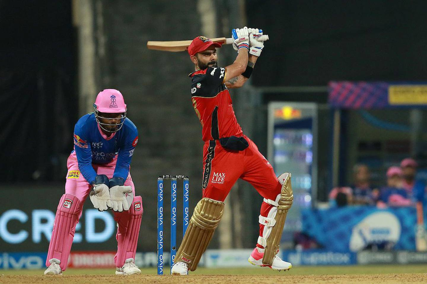 Virat Kohli Captain of Royal Challengers Bangalore plays a shot  during  during match 16 of the Vivo Indian Premier League 2021 between the Royal Challengers Bangalore and the Rajasthan Royals held at the Wankhede Stadium Mumbai on the 22nd April 2021.  Photo by Rahul Gulati/ Sportzpics for IPL