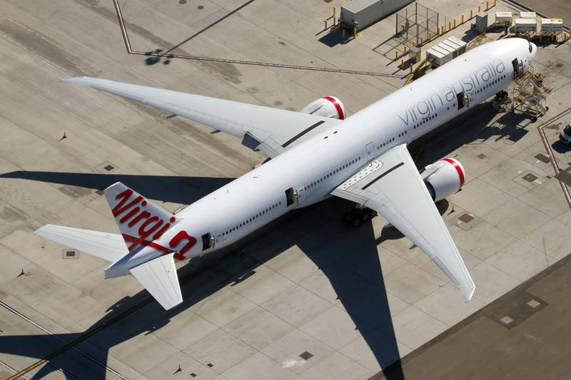 AIRPORT LOS ANGELES, CALIFORNIA, UNITED STATES - 2015/08/31: A Virgin Australia Airlines Boeing 777-300ER resting at Los Angeles Airport. (Photo by Fabrizio Gandolfo/SOPA Images/LightRocket via Getty Images)