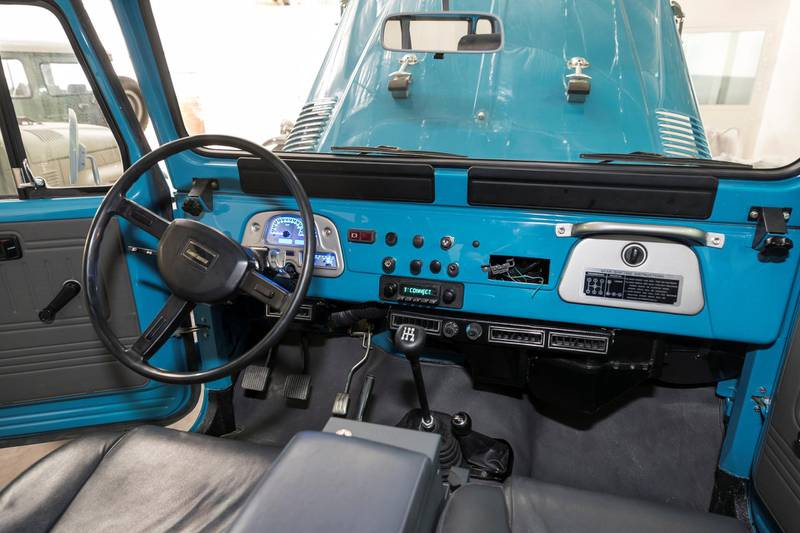 DUBAI, UNITED ARAB EMIRATES. 04 FEBRUARY 2018. Workshop visit to Dubai company Sebsports that restores vintage Land Rovers And Toyota Land Cruisers to concours standard at their Al Quoz workshop. A Resto-Mod Sky blue hard top Fj43 with a new modern Chevy LS 6.0L 400hp engine. Photo: Antonie Robertson/The National) Journalist: Adam Workman. Section: Motoring.