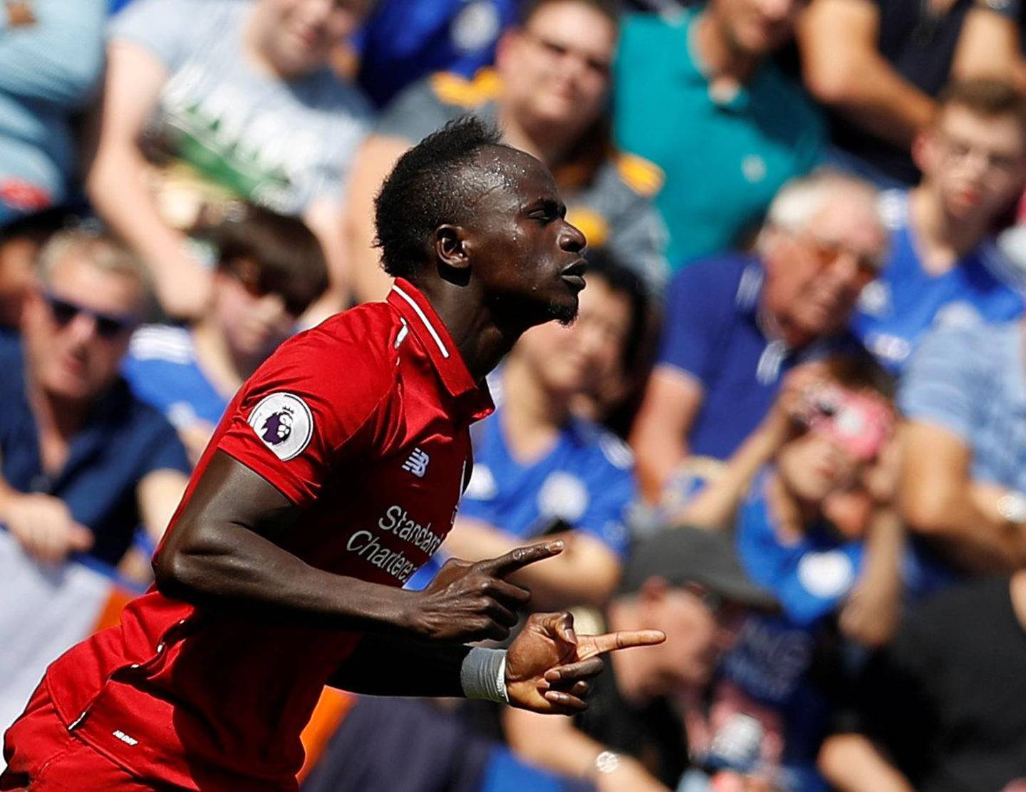 """Soccer Football - Premier League - Leicester City v Liverpool - King Power Stadium, Leicester, Britain - September 1, 2018  Liverpool's Sadio Mane celebrates scoring their first goal   REUTERS/Darren Staples  EDITORIAL USE ONLY. No use with unauthorized audio, video, data, fixture lists, club/league logos or """"live"""" services. Online in-match use limited to 75 images, no video emulation. No use in betting, games or single club/league/player publications.  Please contact your account representative for further details."""