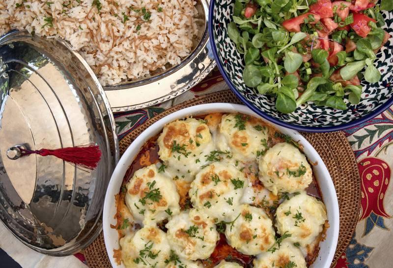 Abu Dhabi, United Arab Emirates, April 13, 2021.  Ramadan Recipes by Emel Moubarak.  Hasan Pasa Koftesi with Vermicelli rice.Victor Besa/The NationalSection:  ACReporter:  Hanan Sayed Worrell