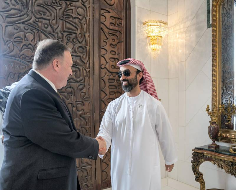 ABU DHABI, UNITED ARAB EMIRATES - September 19, 2019: HH Sheikh Tahnoon bin Zayed Al Nahyan, UAE National Security Advisor (R), greets Michael R Pompeo, Secretary of State of the United States of America (R),prior to a meeting the Sea Palace   ( Mohamed Al Hammadi / Ministry of Presidential Affairs ) ---