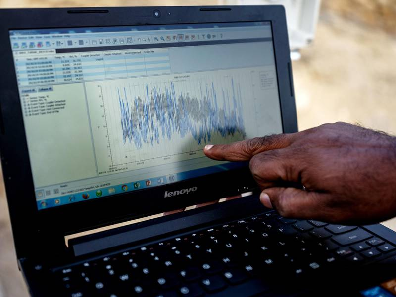 Data scientist - Renoj J. Thayyen, a scientist in the Water Resources Systems Division at the National Institute of Hydrology, collects data from Tuknak weather station near the Wari la pass in Leh district, Jammu and Kashmir, India, on Tuesday, Nov. 12, 2019. There is a body of evidence that global warming is disturbing water cycles on the roof of the world, and in unpredictable ways. Snow cover is shrinking, glaciers are melting, the monsoon season changing and permafrost is at risk, all with drastic consequences for a region whose ice fields hold the largest freshwater reserves outside the poles. Photographer: Prashanth Vishwanathan/Bloomberg