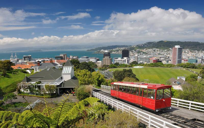 Historic Cable Car, Wellington, New Zealand with skyline and Harbor of Wellington in back. The typical New Zealand Fern in the lower left. Nikon D3X. Converted from RAW.