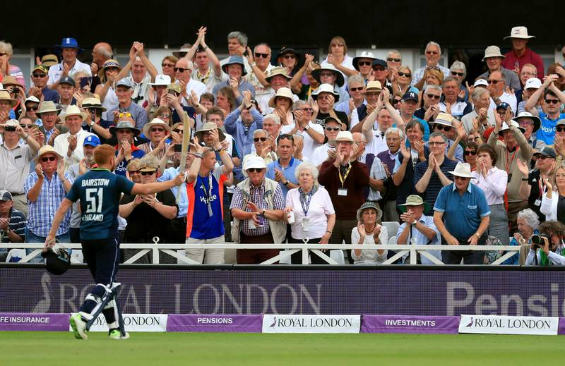 England's Jonny Bairstow salutes the crowd as he leaves the field having being bowled by Ashton Agar during the One Day International match at Trent Bridge, in Nottingham, England, Tuesday June 19, 2018.  England extended its own world record in one-day international cricket by 37 runs, after smashing the highest-ever total of 481-6 against Australia, with opener Jonny Bairstow making 139.(Mike Egerton/PA via AP)