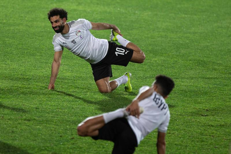epa09090464 Mohamed Salah of Egypt attends a training session of the national team in Cairo, Egypt, 22 March 2021. Egypt will face Kenya in an African Cup of Nations qualification match. The Africn cup of Nations will be held in Cameron in January 2022.  EPA/Mohamed Hossam