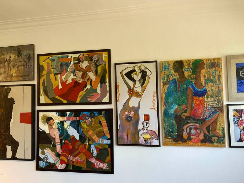 Artwork on display, including George Bahgoury's 'Al-Rakassa' (The Dancer) selling for $10,000. Nada El Sawy / The National