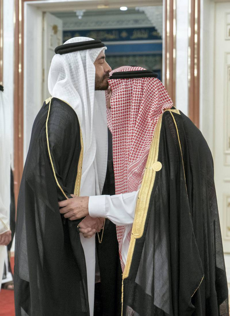 MECCA, SAUDI ARABIA - May 30, 2019: HH Sheikh Abdullah bin Zayed Al Nahyan UAE Minister of Foreign Affairs and International Cooperation (L), greets HM King Salman Bin Abdulaziz Al Saud of Saudi Arabia and Custodian of the Two Holy Mosques (R), during the UAE delegation to the Gulf Cooperation Council (GCC) emergency summit in Mecca.  ( Rashed Al Mansoori / Ministry of Presidential Affairs ) ---