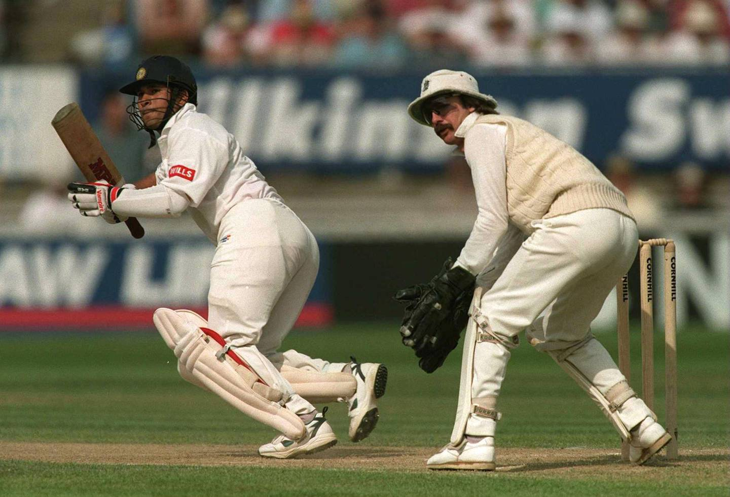 8 June 1996:  Sachin Tendulkar on his way to a century against England with Jack Russell looking on during the third days play in the First England v India Cornhill Test Match at Edgbaston. Mandatory Credit: Adrian Murrell/ALLSPORT