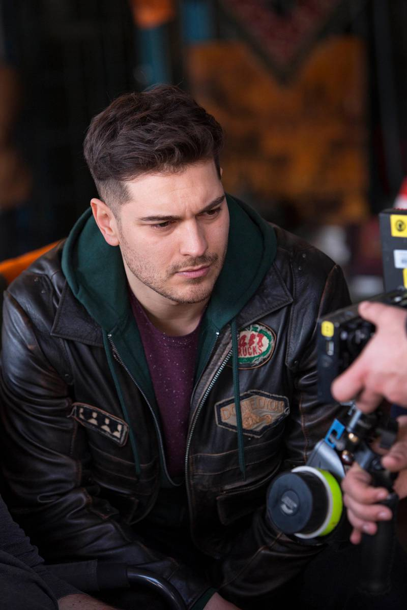 Cagatay Ulusoy on the set of The Protector. Courtesy Netflix