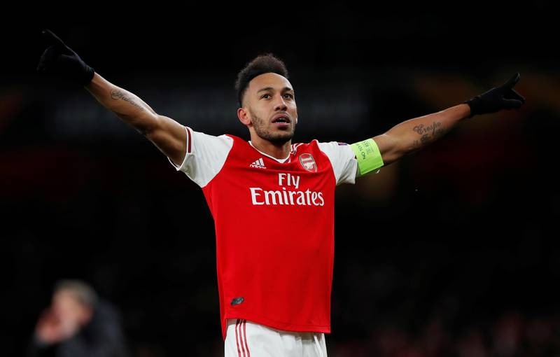 Soccer Football - Europa League - Round of 32 Second Leg - Arsenal v Olympiacos - Emirates Stadium, London, Britain - February 27, 2020  Arsenal's Pierre-Emerick Aubameyang celebrates scoring their first goal  Action Images via Reuters/Paul Childs