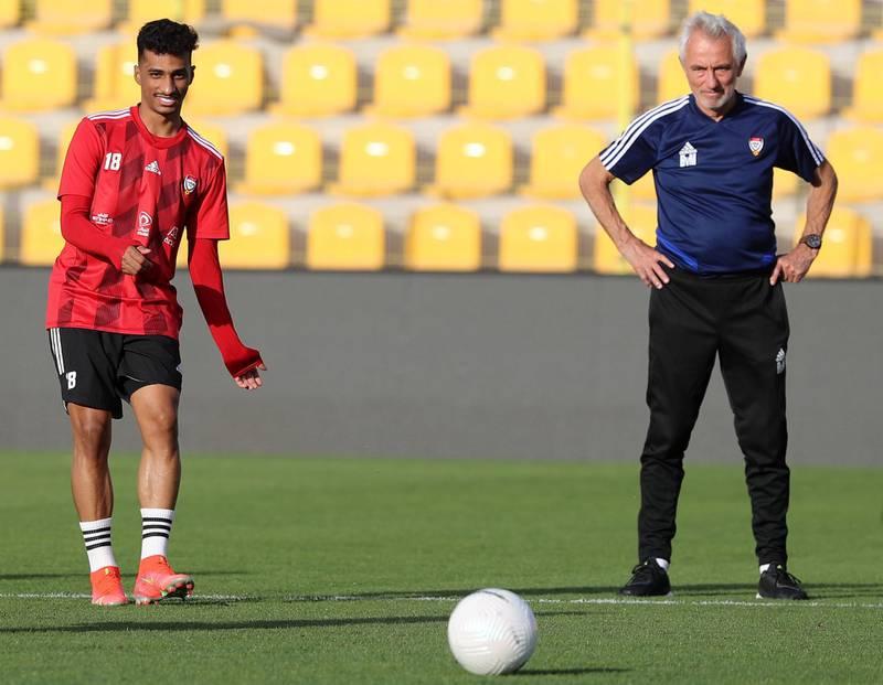 Dubai, United Arab Emirates - Reporter: John McAuley. Sport. Football. UAE player Abdullah Ramadan during a training session at Zabeel Stadium, Dubai. Saturday, March 27th, 2021. Dubai. Chris Whiteoak / The National