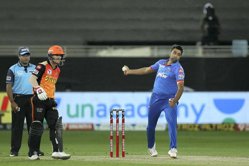 Ravichandran Ashwin of Delhi Capitals during match 47 of season 13 of the Dream 11 Indian Premier League (IPL) between the Sunrisers Hyderabad and the Delhi Capitals held at the Dubai International Cricket Stadium, Dubai in the United Arab Emirates on the 27th October 2020.  Photo by: Ron Gaunt  / Sportzpics for BCCI