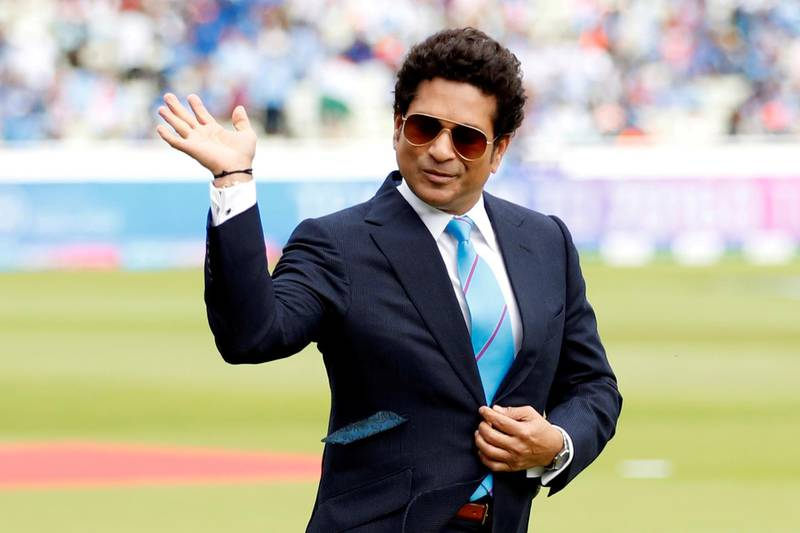 FILE PHOTO: Cricket - ICC Cricket World Cup - England v India - Edgbaston, Birmingham, Britain - June 30, 2019   Sachin Tendulkar on the pitch before the match    Action Images via Reuters/Andrew Boyers/File Photo/File Photo