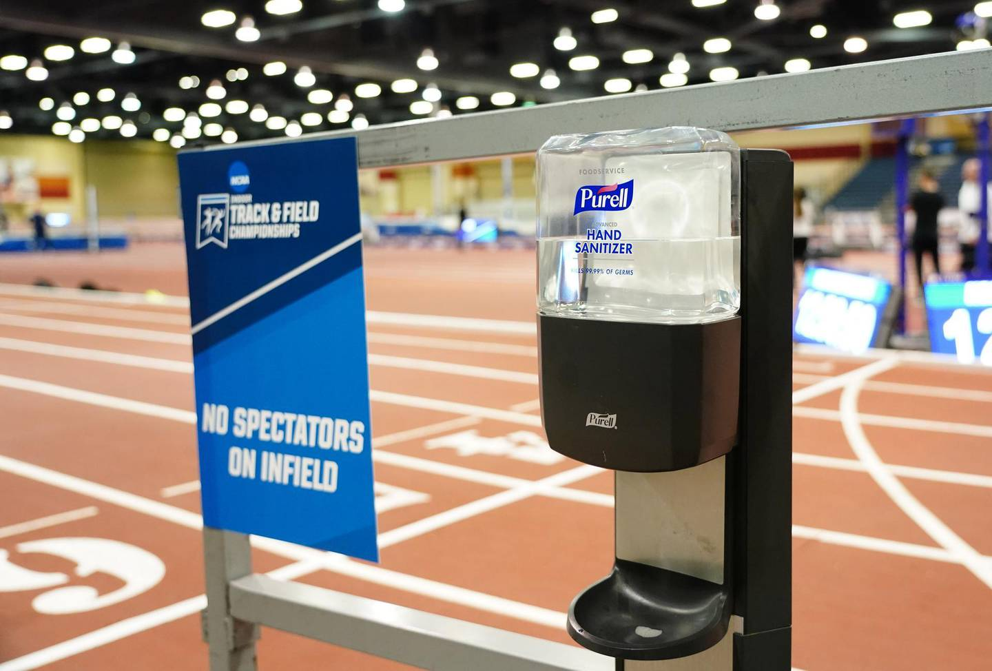 Mar 12, 2020; Albuquerque, New Mexico, USA; Purell hand sanitizer at the track prior to the NCAA Indoor Championships at Albuquerque Convention Center that were cancelled because of novel coronavirus. Mandatory Credit: Kirby Lee-USA TODAY Sports